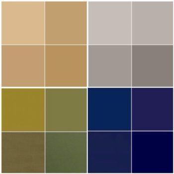 イエローベースのベーシックカラーのベージュとカーキ、ブルーベースのベーシックカラーのライトグレーとネイビー
