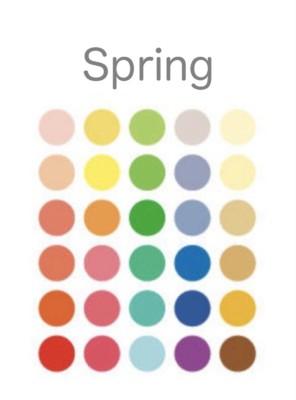 パーソナルカラースプリングのシーズンカラーの基本30色・セカンドがスプリング(春)になる人の特徴