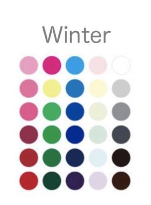 パーソナルカラー・ウィンターのシーズンカラーの基本30色。セカンドシーズンがウィンターさんの人は