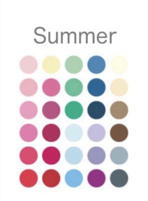 パーソナルカラーサマーのシーズンカラー・基本30色。セカンドがサマーになる場合の特徴